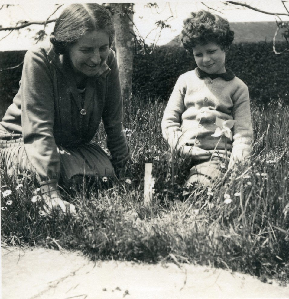 Christopher Lloyd as a child with his mother Daisy Lloyd in the front meadow at Great Dixter